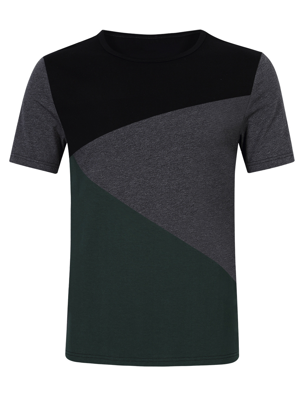 [US Direct] Young Horse Men's Cotton Crewneck Contrast Color Casual T-shirt
