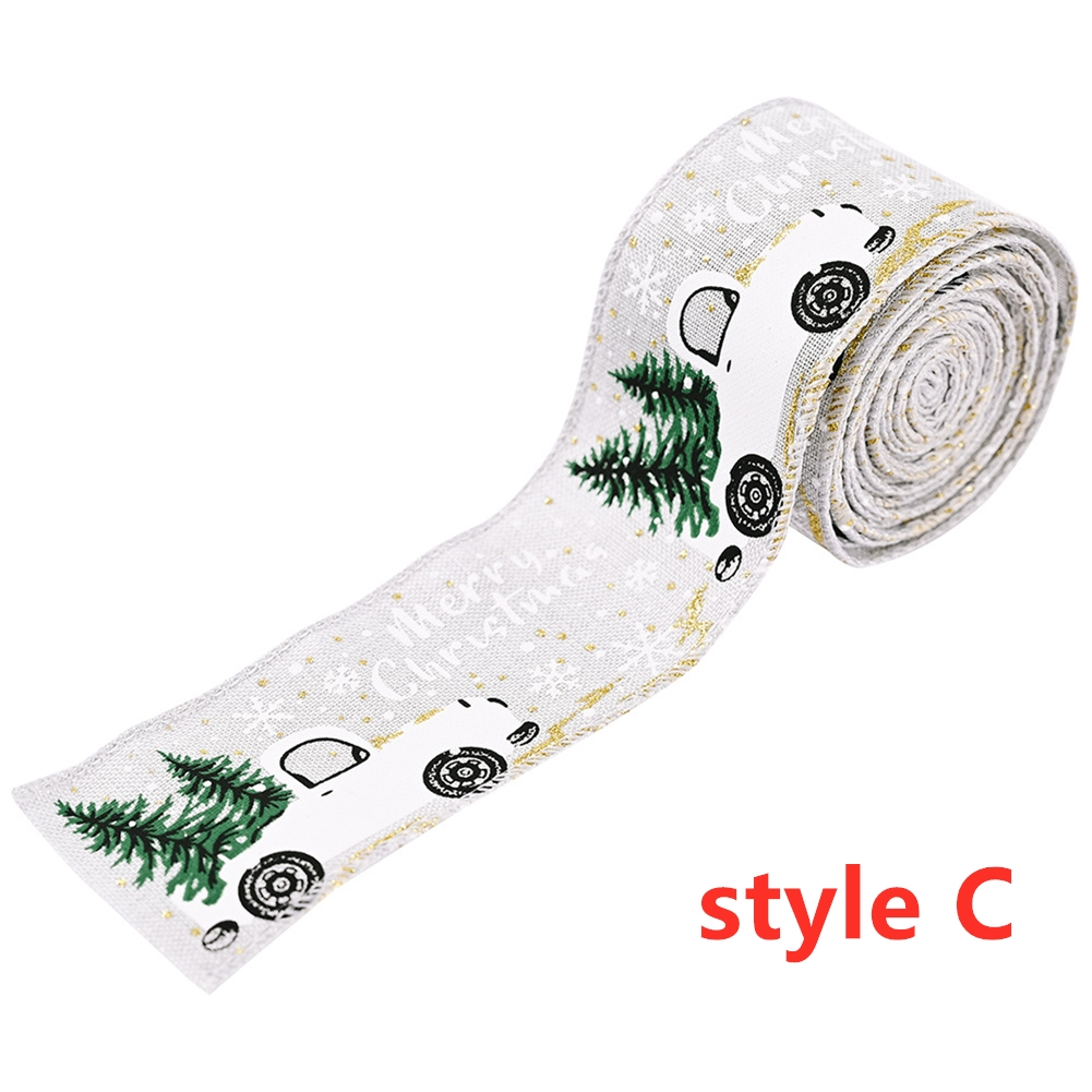 Imitation Hemp Ribbon Car Tree Printing Christmas Decoration Ribbon Roll for Gift Packing Gray