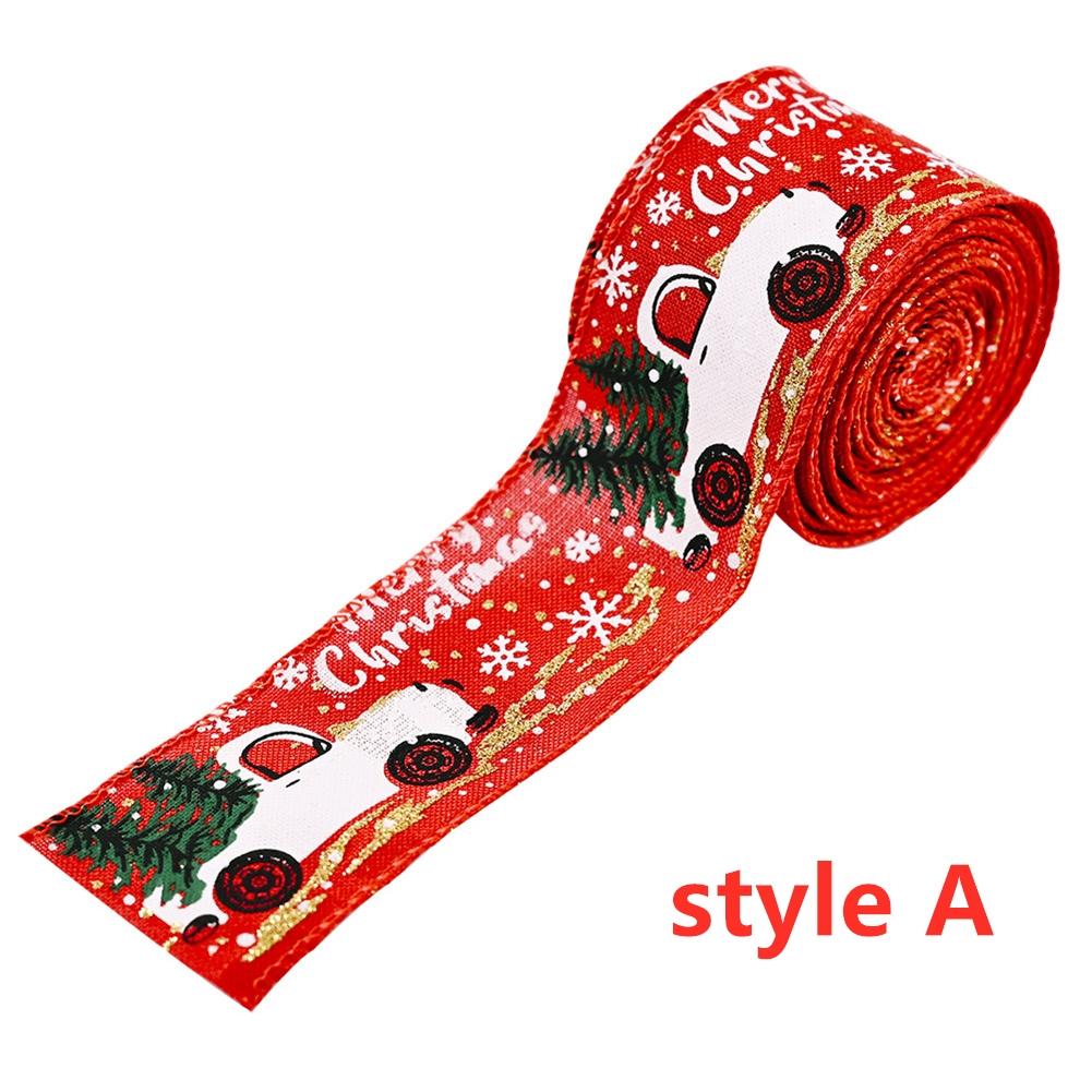 Imitation Hemp Ribbon Car Tree Printing Christmas Decoration Ribbon Roll for Gift Packing Red
