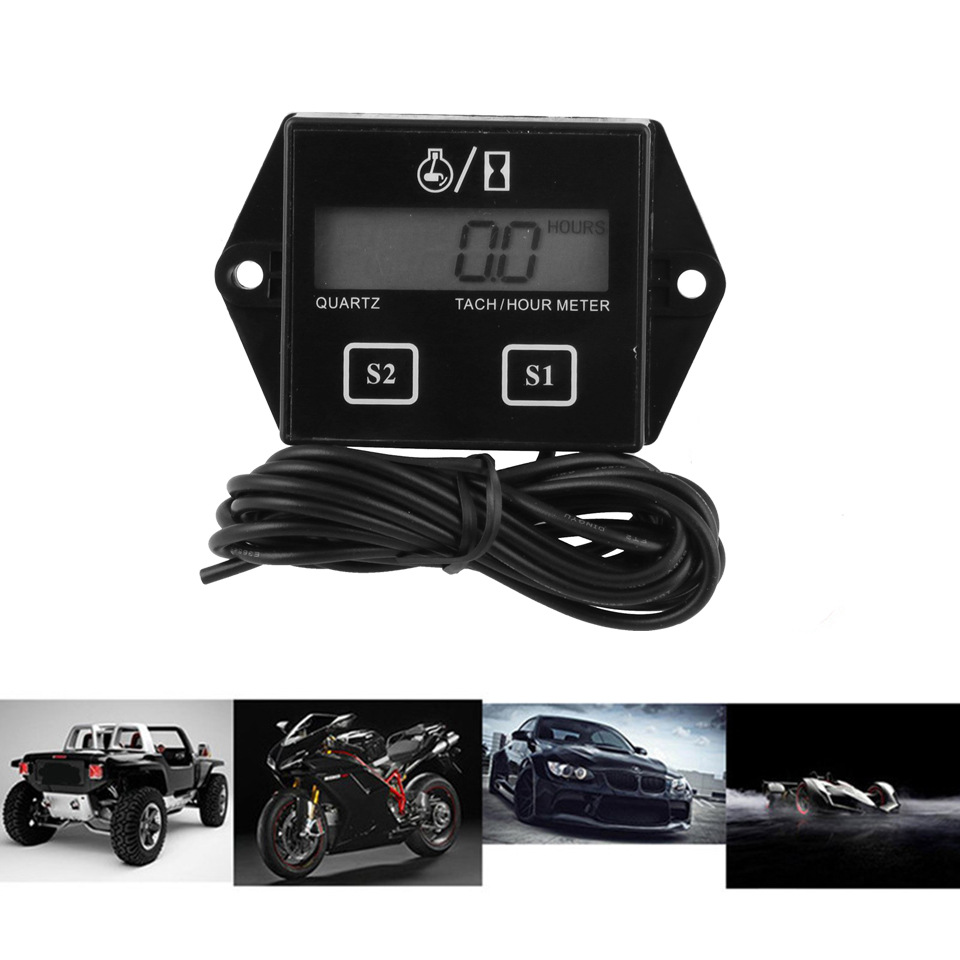 Tiny Tach Digital Hour Meter Tachometer For Marine Spark Mower Engine Motor black