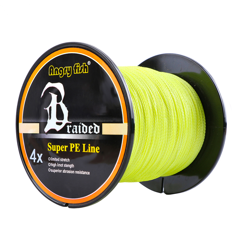 Advanced 500m/547yds 4braid Solid Color Strong Braided Fish Line - Yellow 0.12mm-15lb