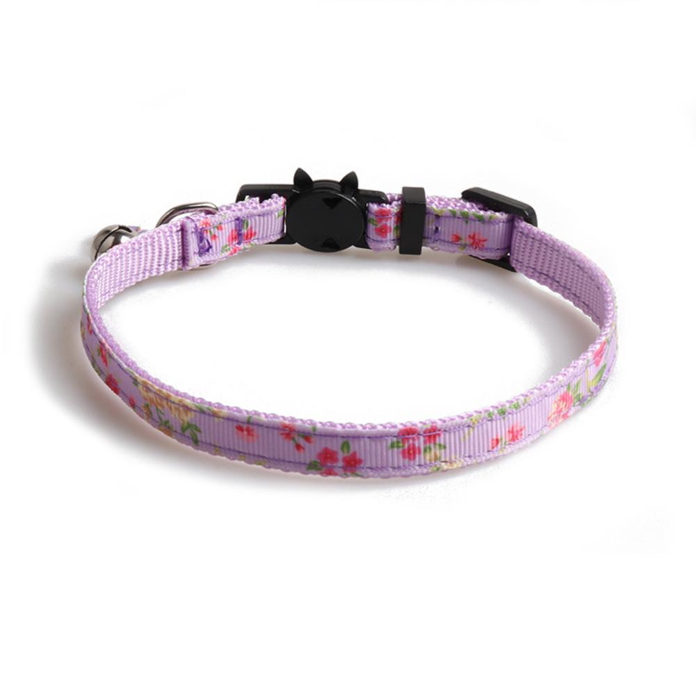 Floral Print Cat  Ribbon Cat Neck Collar Decoration Pet Supplies purple