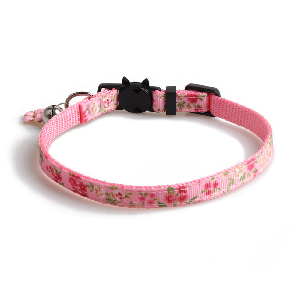 Floral Print Cat  Ribbon Cat Neck Collar Decoration Pet Supplies Pink