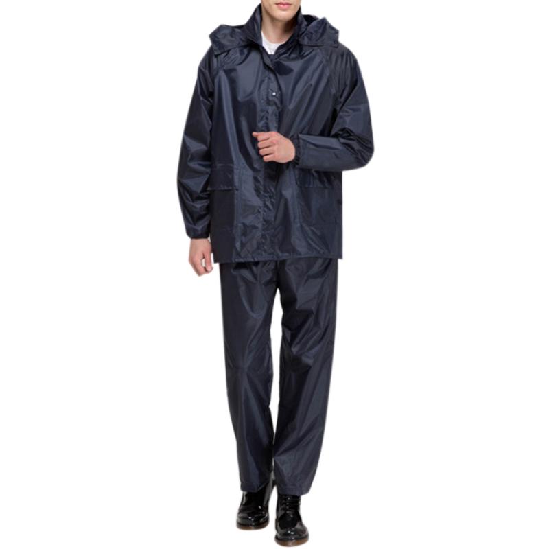 Men Raincoat Suits Outdoor Breathable Waterproof Rainwear Riding Rain Coat  + Pants Navy_XXL