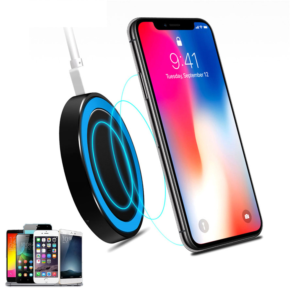Universal Small Thin Round Wireless Charger For QI Standard Mobiles Wireless Charging Black blue