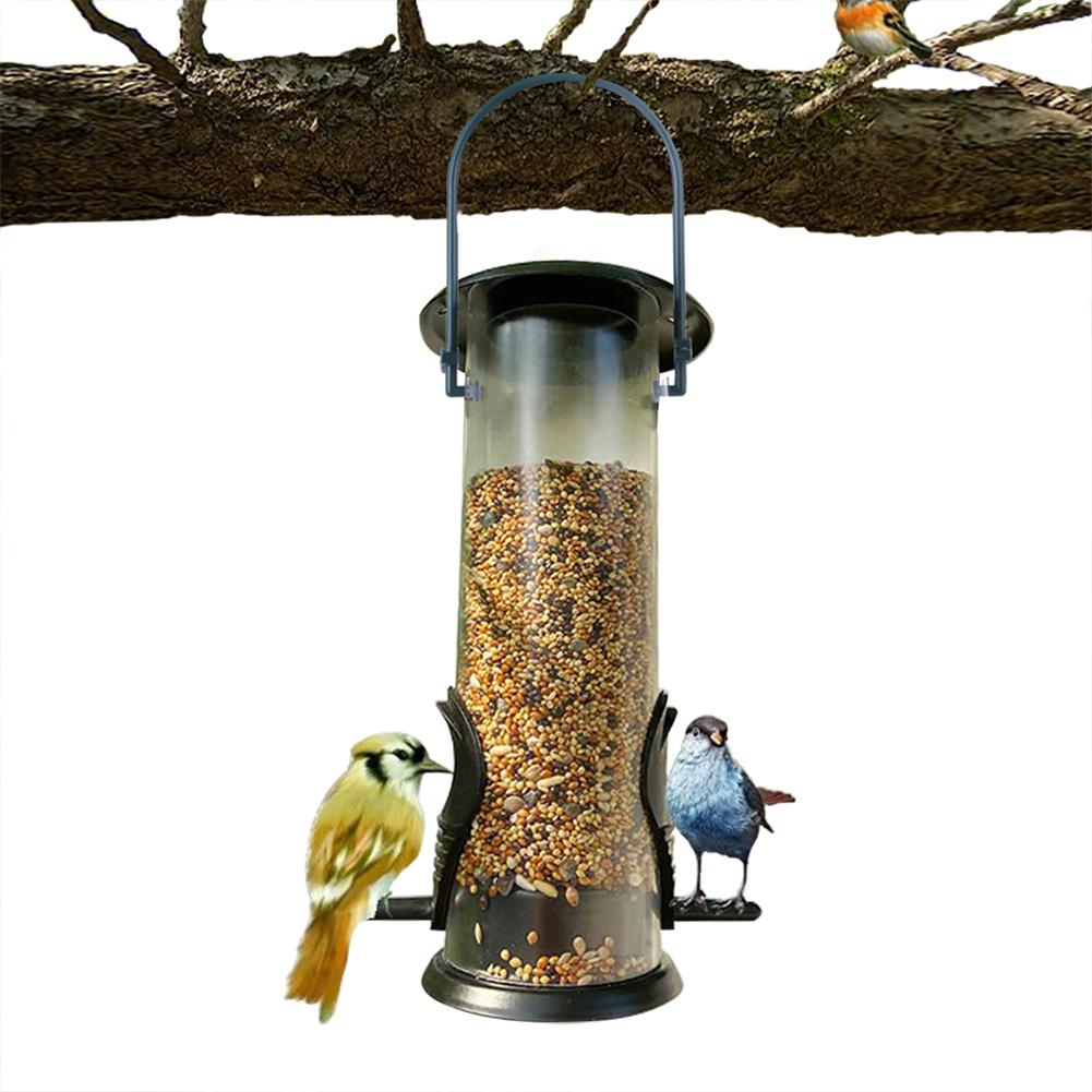 Bird Feeder Hanging Food Dispenser Parrot Food Box for Outdoor Balcony green