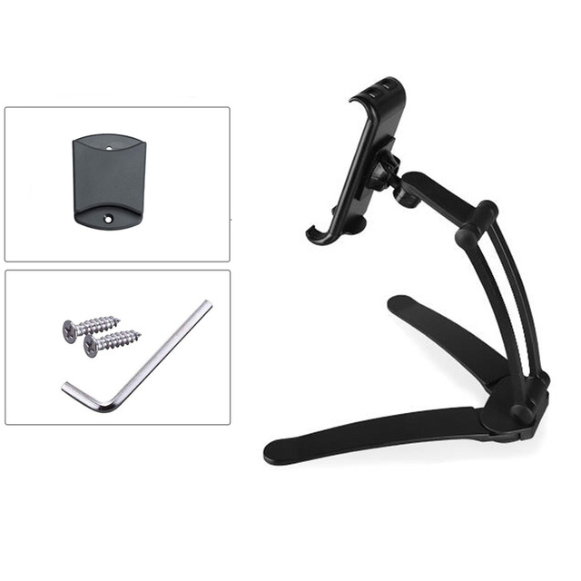 2-in-1 Kitchen Tablet Stand Wall Desk Mount Tablet Stand Fit For Tablet Smartphone Holders black