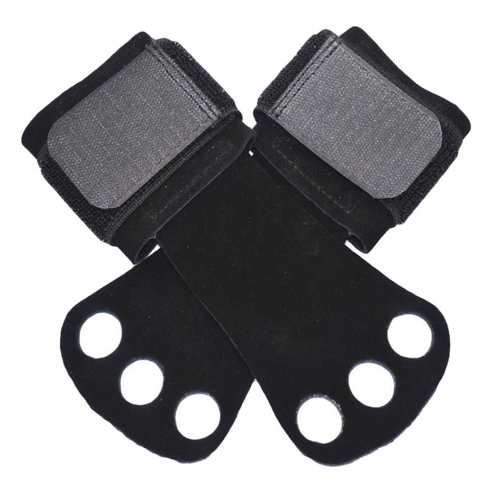 Leather Palm Protectors Gloves Hand Grips Crossfit Gymnastics Guard Pull Up Bar Weight Lifting Gloves Black S