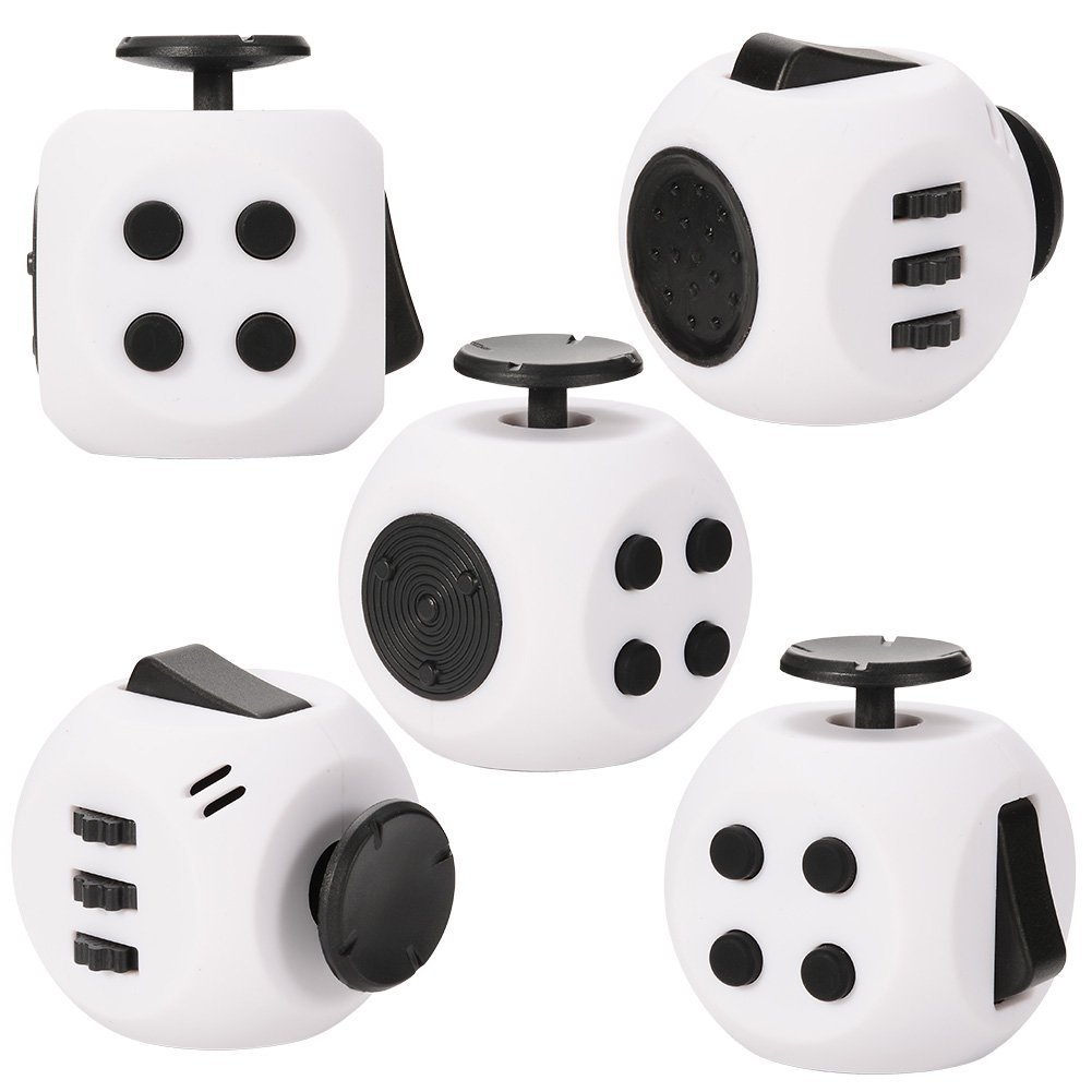 [US Direct] Round Fidget Cube Toy Relieve Stress, Anxiety and Boredom forChildren, Man and Women White&Black