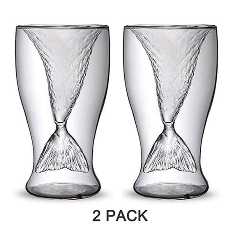 Mermaid Creative Glasses Beer Glass Beer Mug Creative Cup Beauty Glassware Shrimp Cocktail Glasses  2PCS