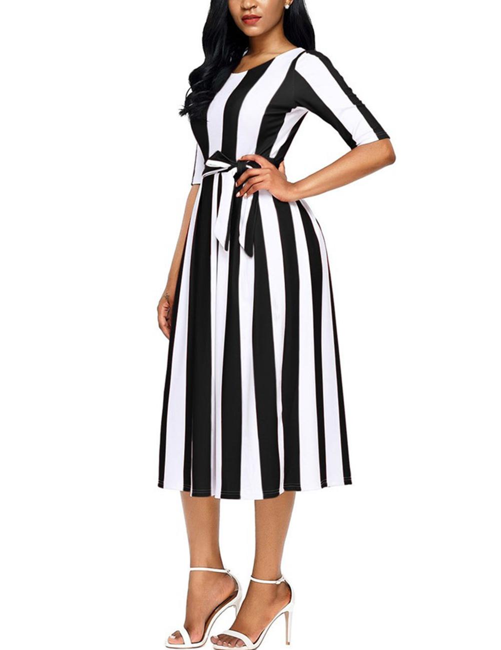 Lady A-line Long Dress Vertical Wide Stripes Half Sleeve Round Neck Waist Belt Valentines Gift