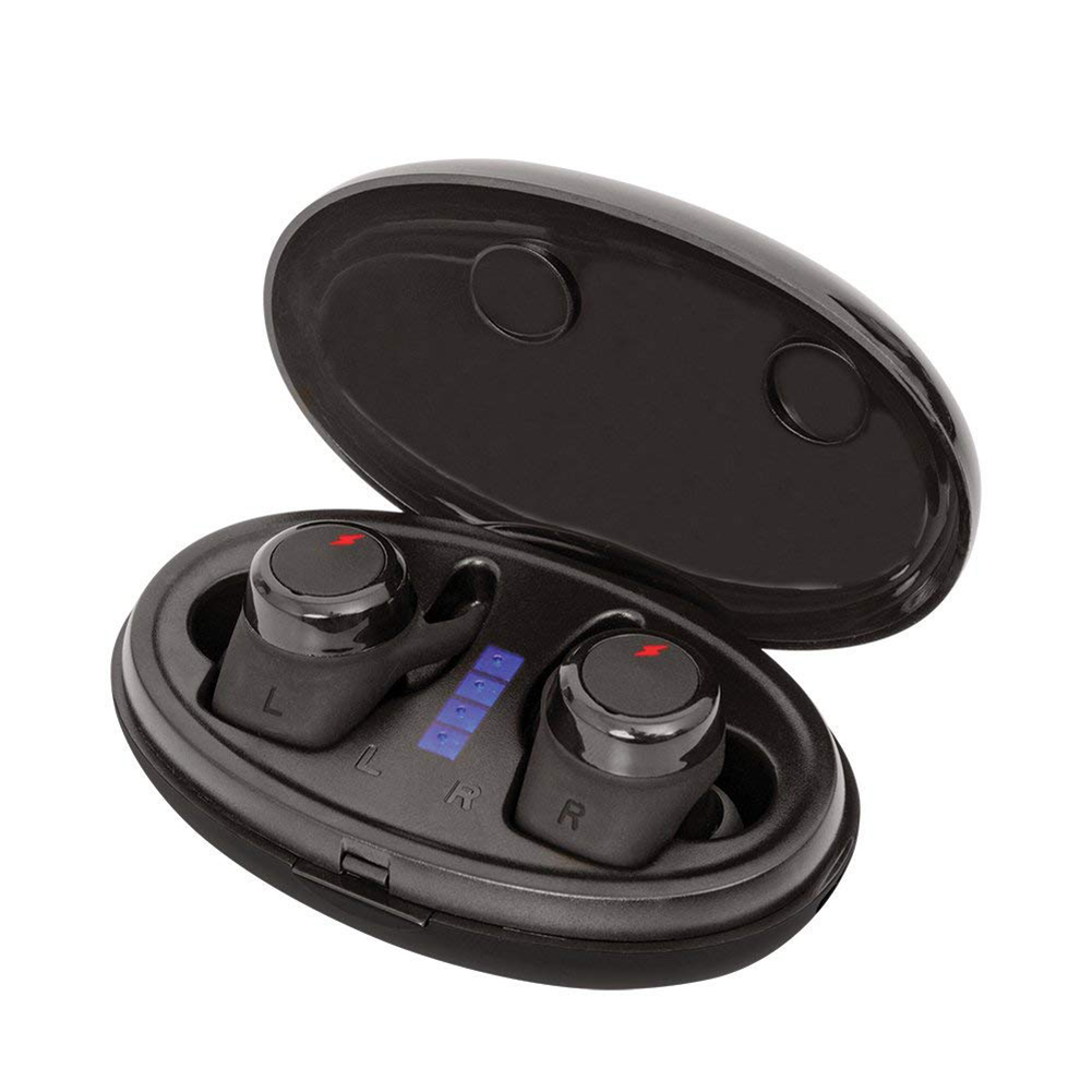 TWS  Bluetooth Earphones V5.0 Headphones with Mic Cordless  Earbuds with Charging Case for iPhone iPad Samsung Galaxy Black