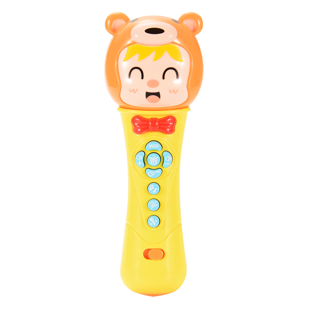 [US Direct] Battery Operated Baby Dynamic Microphone Toy Musical Toys with Light (Color May Vary)