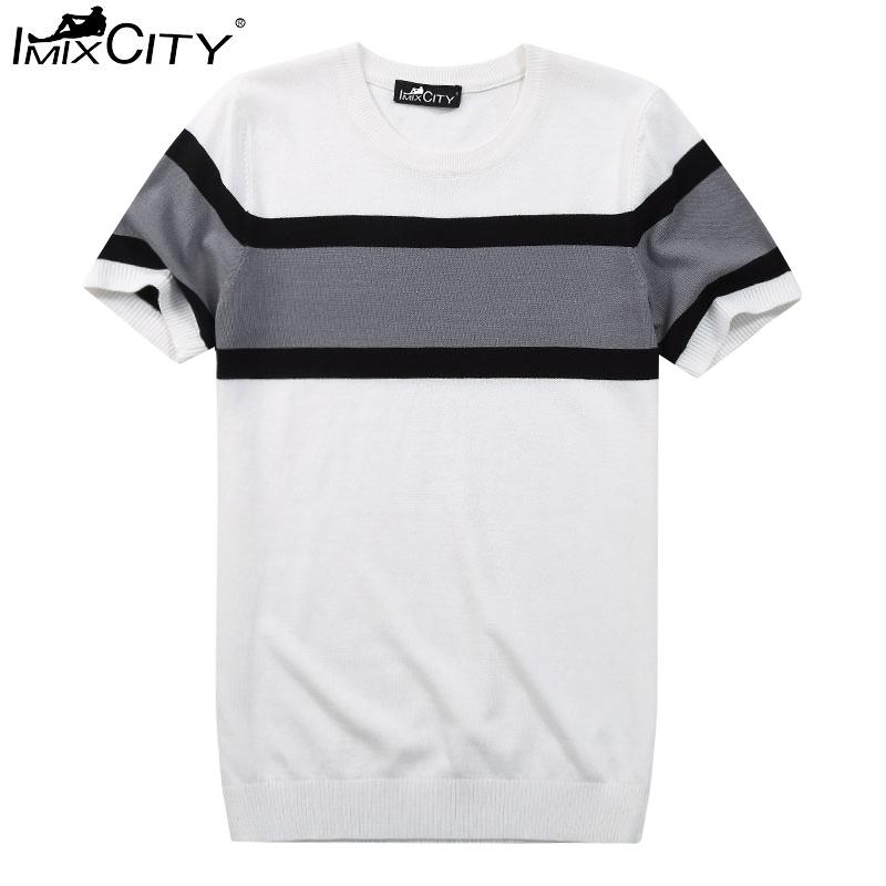 IMIXCITY Men's Slim Fit Crew Neck Short Sleeve T-Shirt Color Block Knit Tees White_L