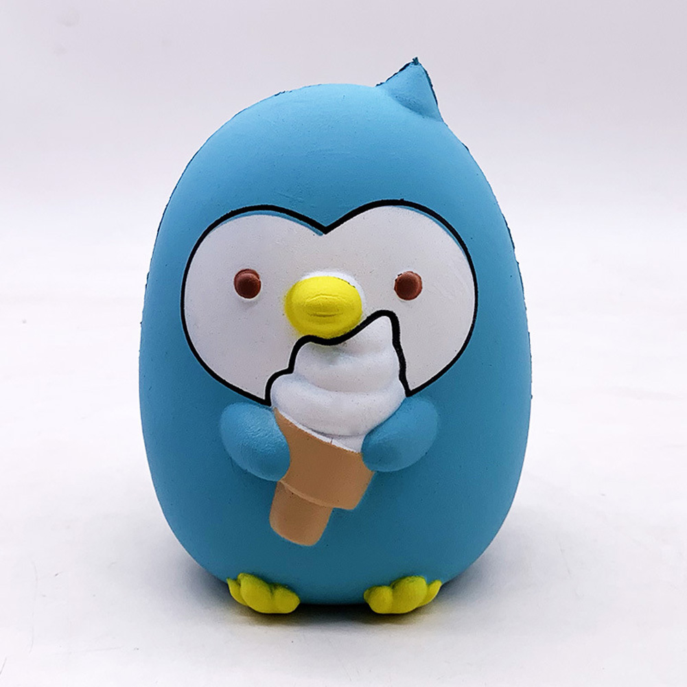 Ice Cream Penguin Pu Simulation Decompression Toy Super Soft Very Slow Rising Squishies  Sky blue_15.5 * 12.5 * 10cm