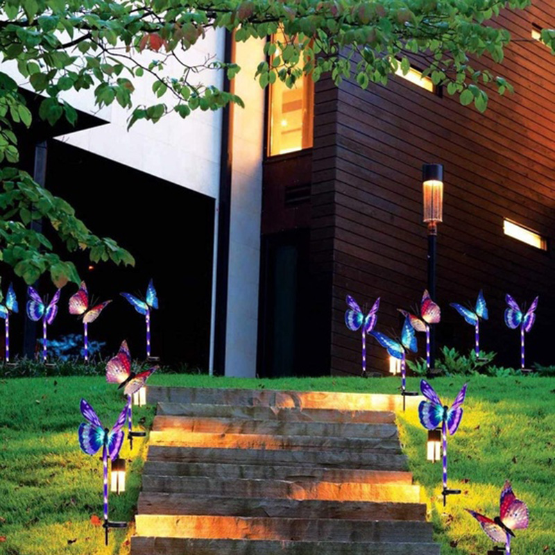 3pcs Garden Solar Lights Butterfly 7 Colors Change Yard Lamp Patio Lamp Decoration Colorfully inserted solar butterfly