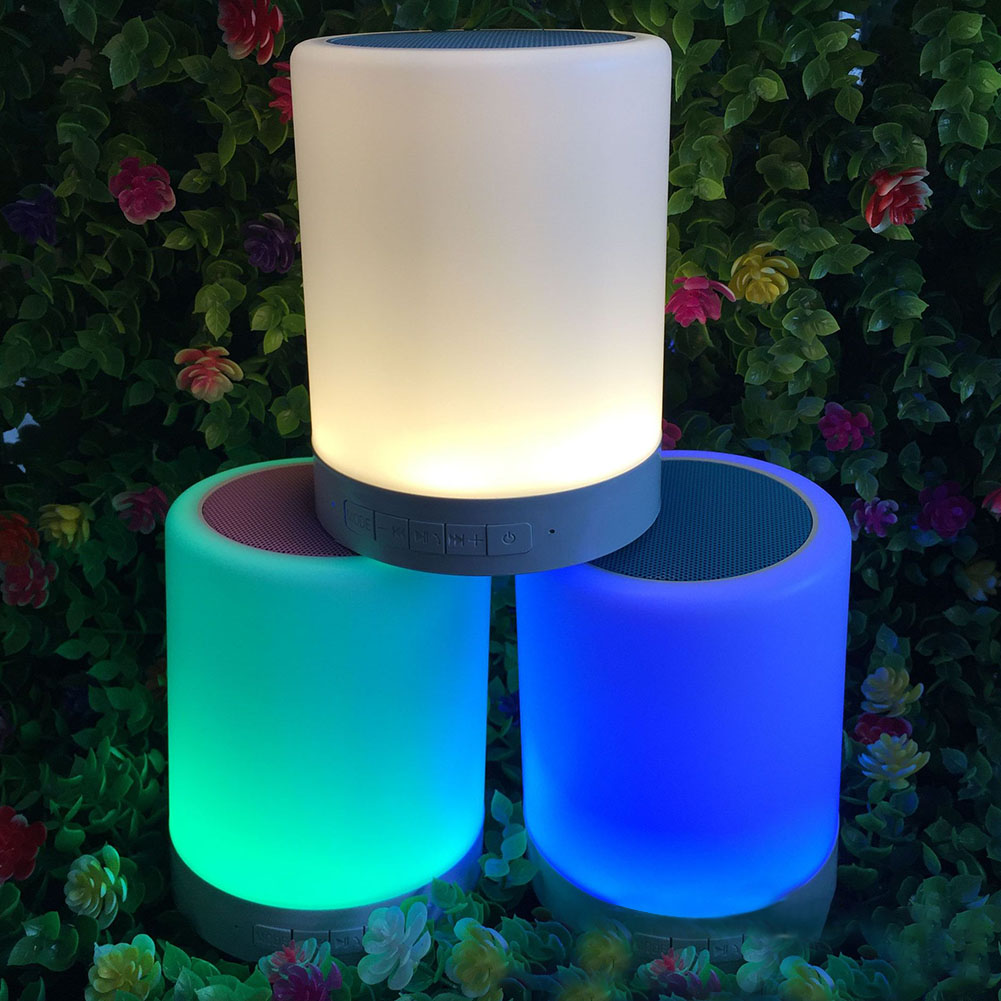LED Intelligent Lamp with Alarm Clock Bluetooth Colorful Lights Audio Touch for Romantic Ambient  Without screen white