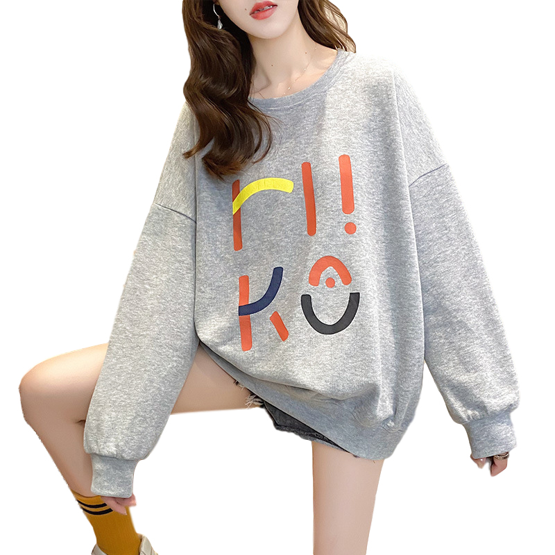 Women's Hoodie Spring and Autumn Thin Loose Pullover Long-sleeve  Hooded Sweater Gray _M