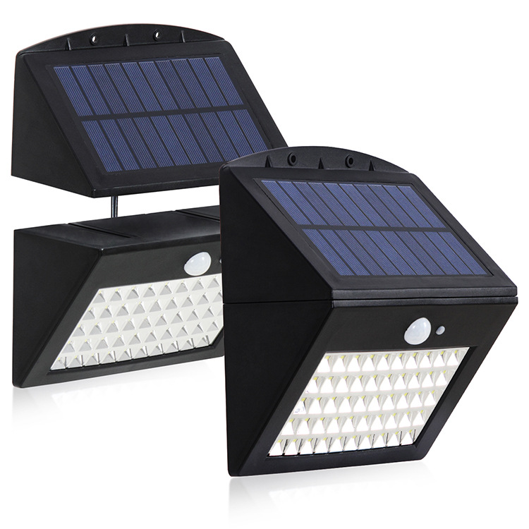 Outdoor Solar Light 50LED Human Body Induction Wall Lamp Detachable for Yard Garden warm light