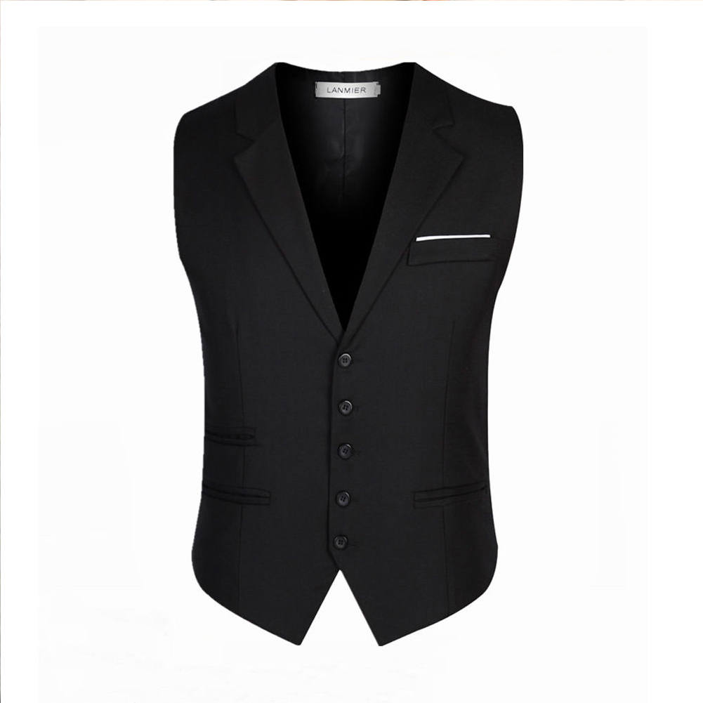 Men Stylish Suit Collar Slim Sleeveless Waistcoat black_L