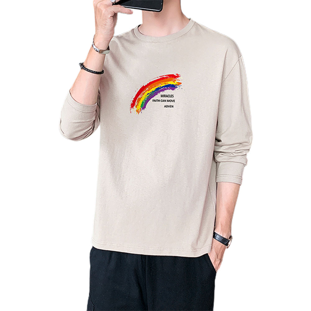 Men's T-shirt Autumn Printing Loose Long-sleeve Bottoming Shirt Apricot_XL