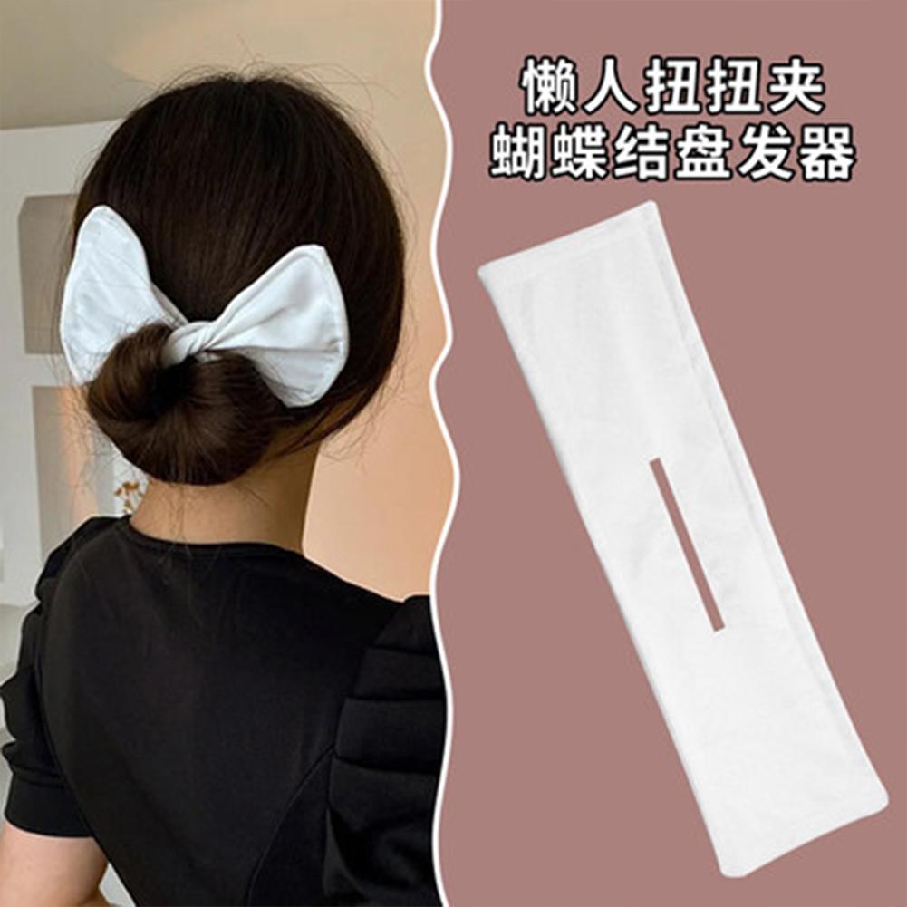 Deft  Bun  Hair  Bun  Maker Elastic Bands Classy Multicolor Cloth Magic Clip Fashion Flexible Reusable Bun White