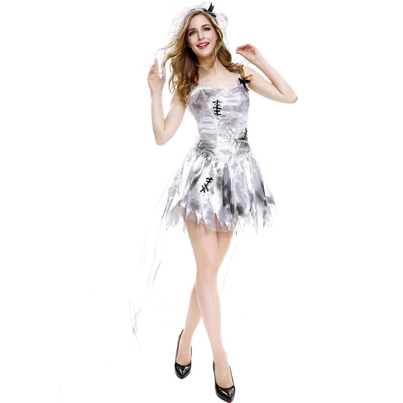 3 Pcs/set Women  Halloween  Uniforms Ghost Bride Grey Sling Skirt Sexy Role-playing Uniforms 8305-Grey_XL