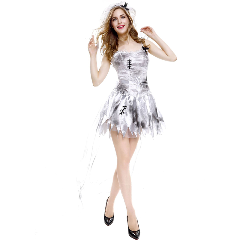 3 Pcs/set Women  Halloween  Uniforms Ghost Bride Grey Sling Skirt Sexy Role-playing Uniforms 8305-Grey_L