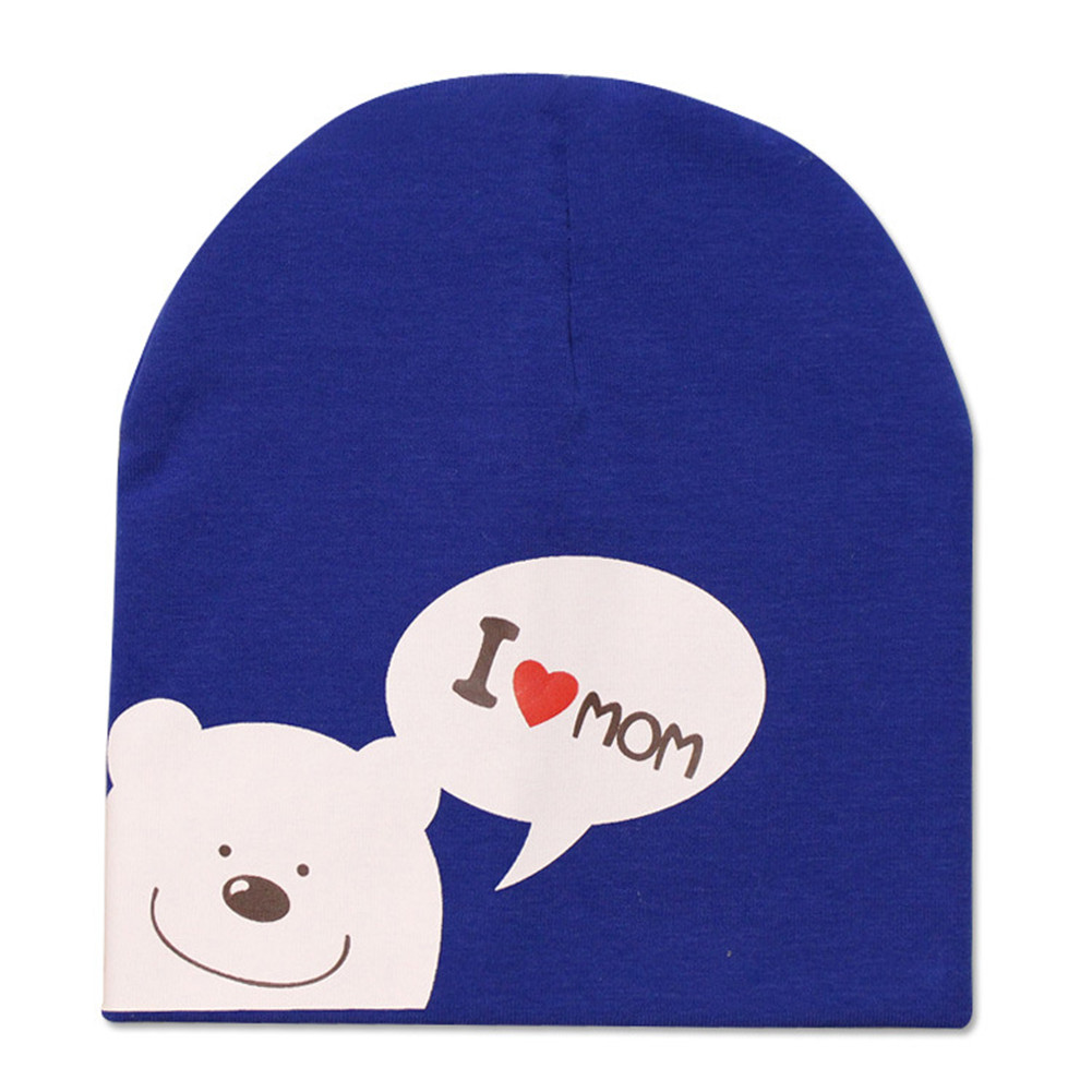 Baby Cotton Hat I LOVE PAPA MAMA Print Cap Spring Autumn Winter Knitted Warm Head Cover For Girl Boy Baby Toddler Kids  Blue+mom_0-24M (6 months - 2 years old)