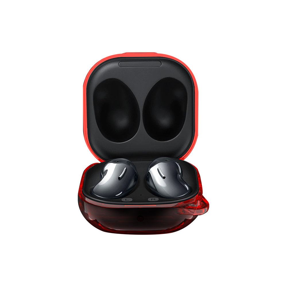 PC Earphone Case For Samsung Galaxy Buds Live Transparent Cover Headset Protective Cover Transparent red
