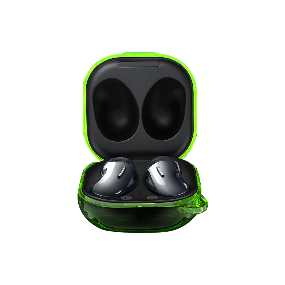PC Earphone Case For Samsung Galaxy Buds Live Transparent Cover Headset Protective Cover Transparent green
