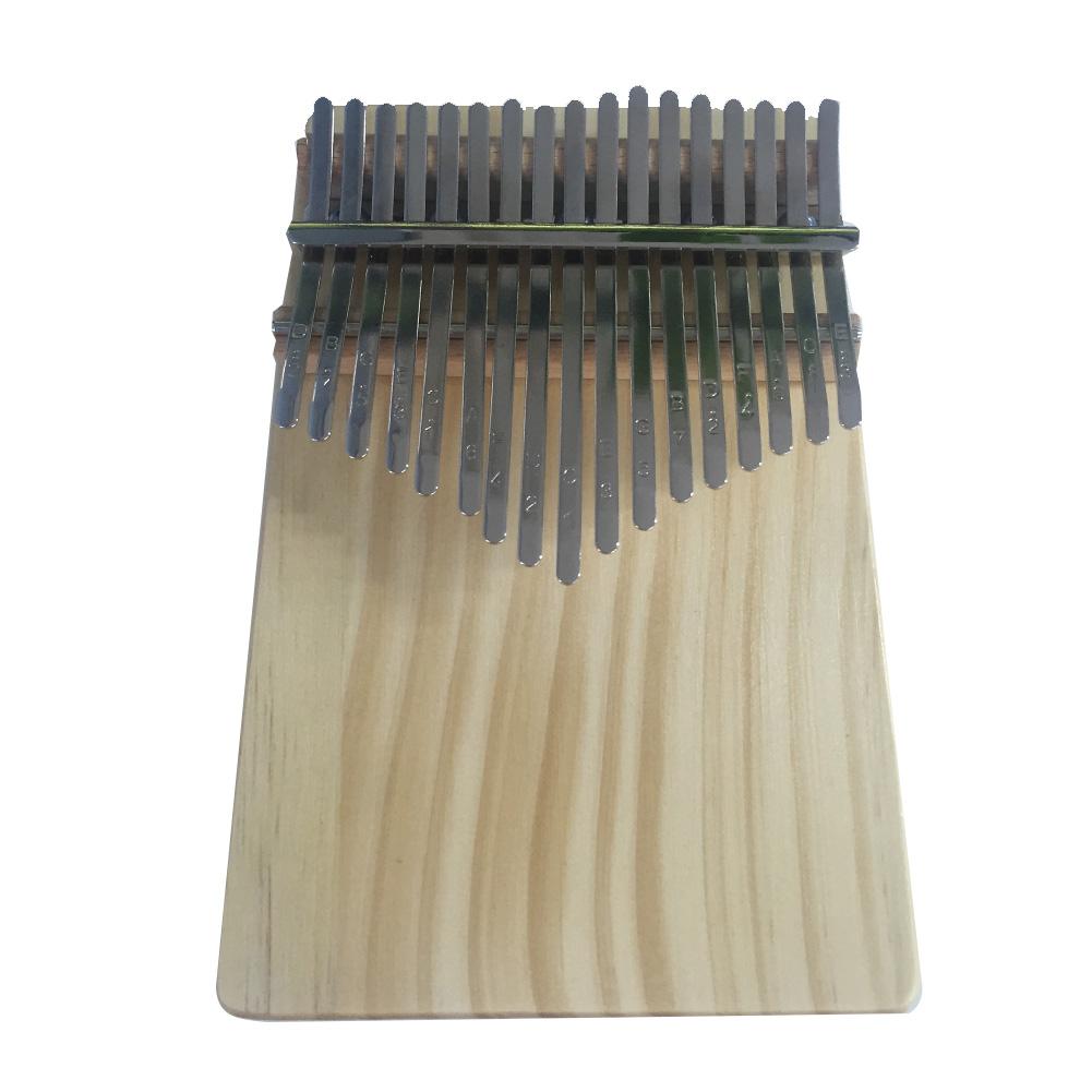 17 Key Kalimba Thumb Piano Single Flat Board Pine Mbira Keyboard Musical Instrument with Tuning Hammer Polishing Cloth beige