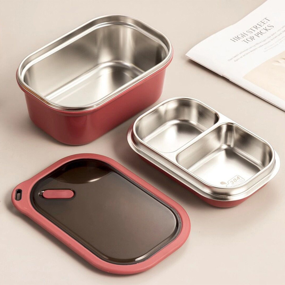 Portable Stainless Steel Student Compartment Sealed Lunch Box Food  Container red