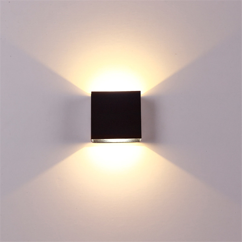 Adjustable 6W LED Wall Lamp AC85-265V COB Waterproof Aluminum Cube Outdoor Porch Wall Light  warm light