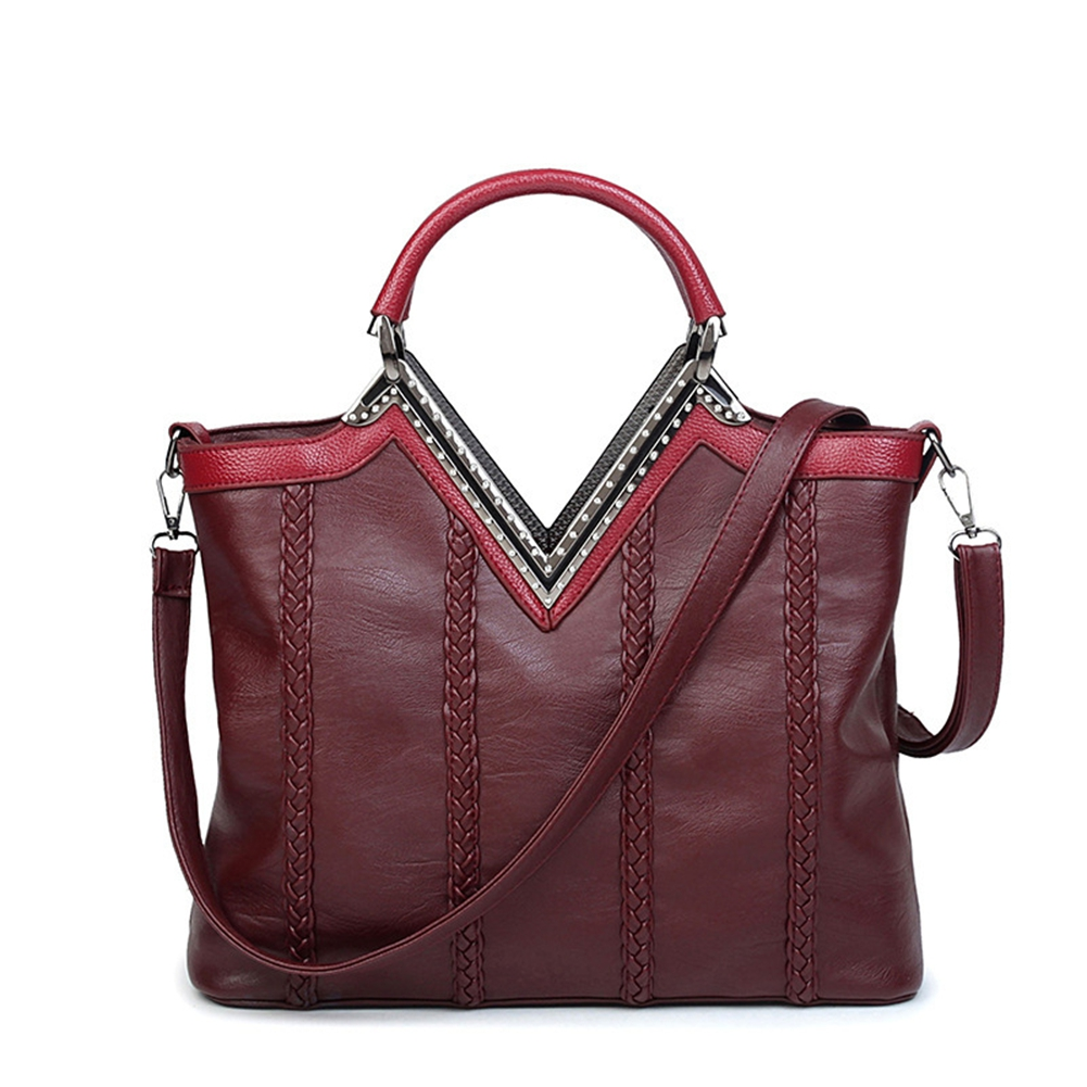 Women Fashion Luxury Tote Handbag Messenger PU Leather Woven Shoulder Bag Satchel