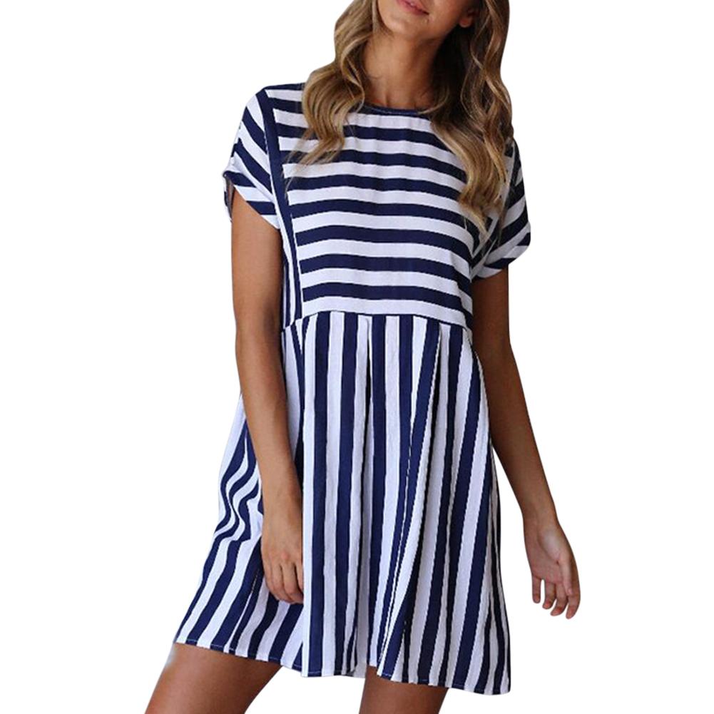Women Summer Sexy All-match Stripe Printing Slim A-Line Dress Beach Wear