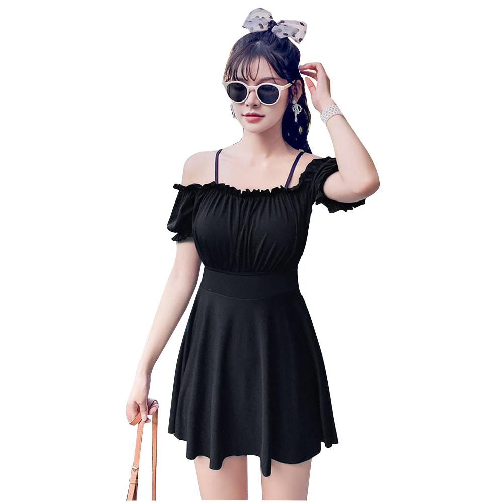 Women Swimsuit Solid Color Skirt-style One-piece Swimsuit For Summer Beach Holiday black_L
