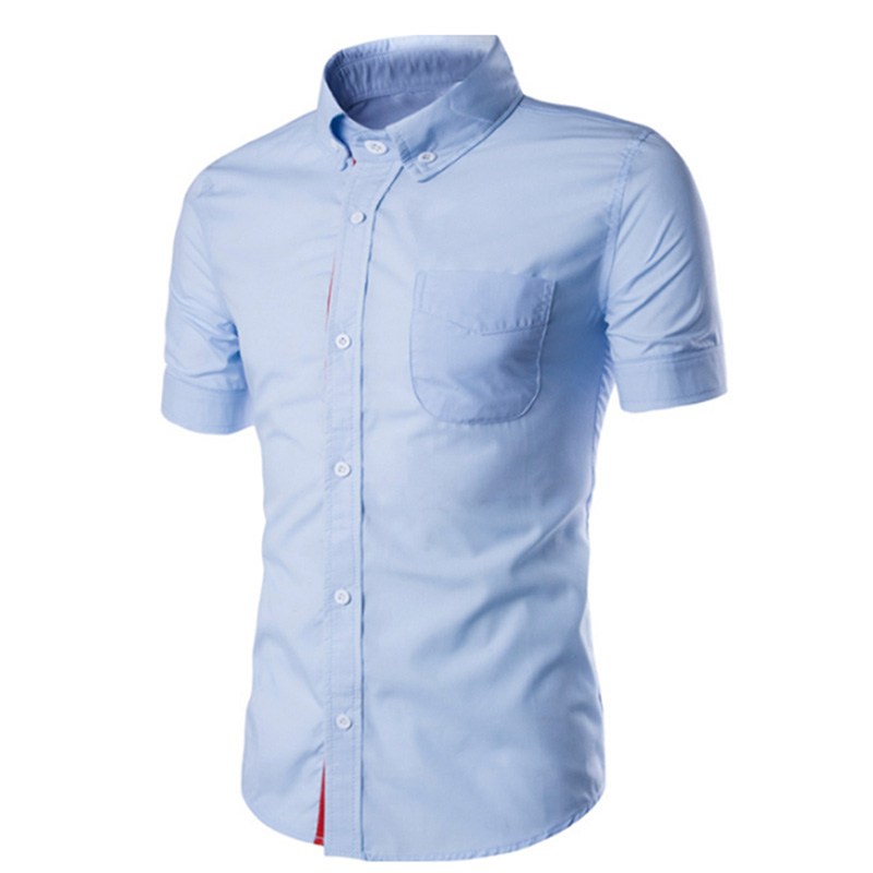 Summer Male Casual Short-sleeve Shirt Solid Colour Tops Gift light blue_M