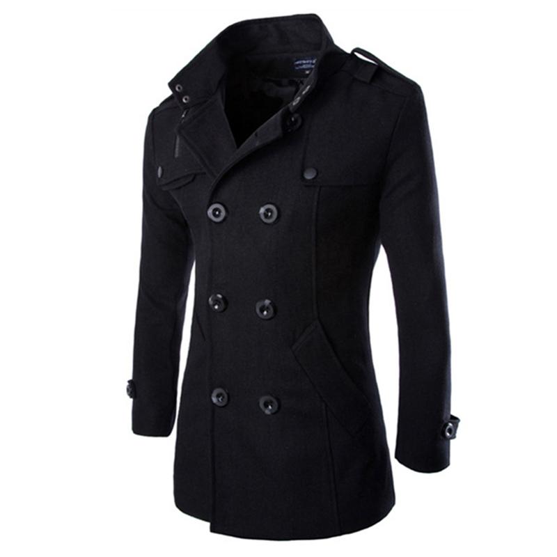 Autumn Winter Men Double-breasted Button Lapel Collar Long Style Casual Garment Coat black_XXL