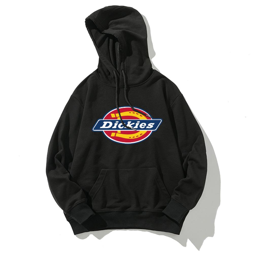 Men Women Hoodie Sweatshirt Thicken Velvet Dickies Loose Autumn Winter Pullover Tops Black_L