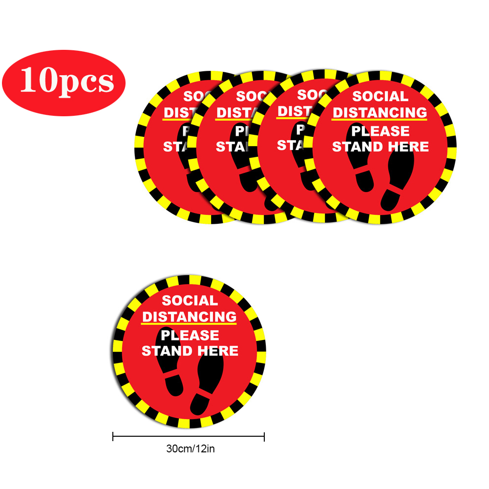 5pcs/10pcs Social Distancing Floor Decals For Floor Safety Notice Floor Marker SOCIAL DISTANCING PLEASE STAND HERE 10pcs