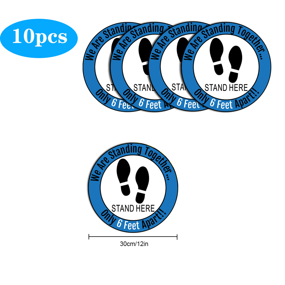 5pcs/10pcs Social Distancing Floor Decals For Floor Safety Notice Floor Marker We Are Stangding Together Stand Here Only 6 feet apart 10pcs