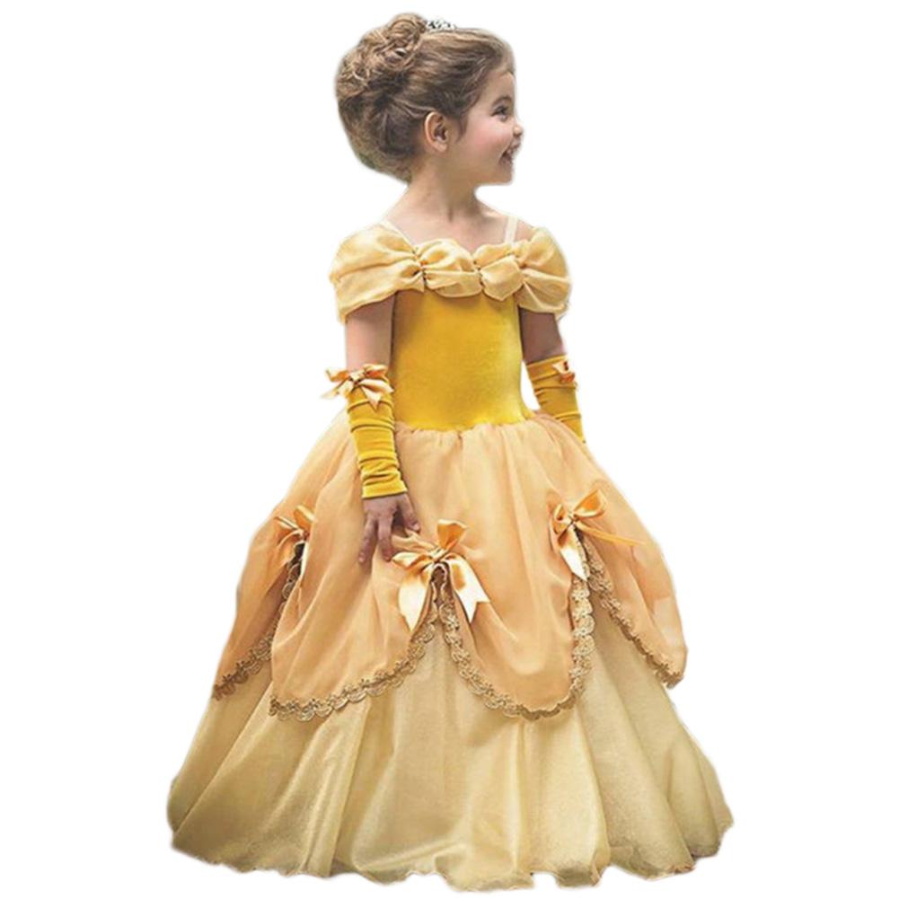 Baby Girl Stylish Pretty Tutu Princess Dress Halloween Christmas Performance Dress with Gloves yellow_120cm