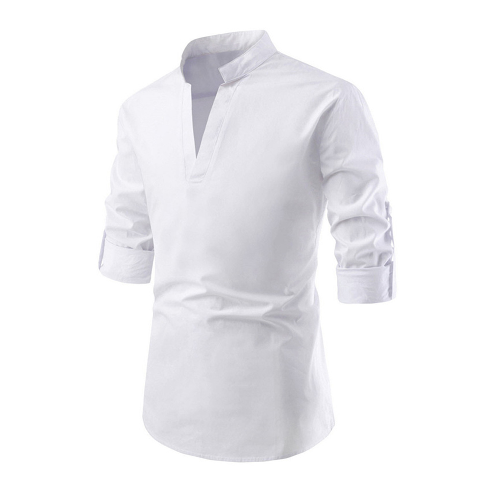 Men Solid Color Pullover Stand Collar Long Sleeve Casual Shirt white_XL