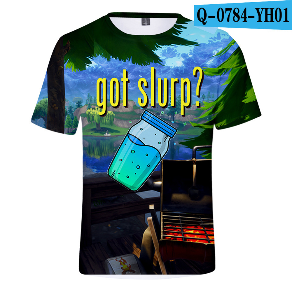 Casual 3D Cartoon Pattern Round Neck T-shirt Picture color W_S