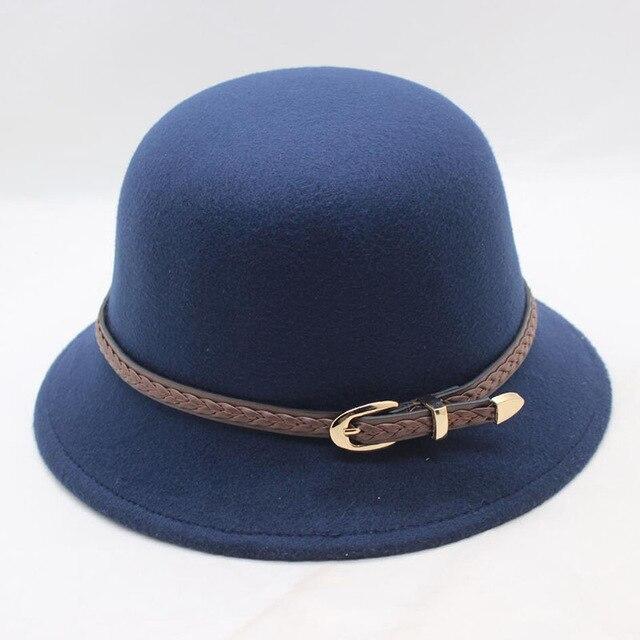 Autumn Winter Hats For Women Wool Flower Felt Hats Elegant Ladies Bowler Bucket Cloche Hats Wide Retro Hats Female