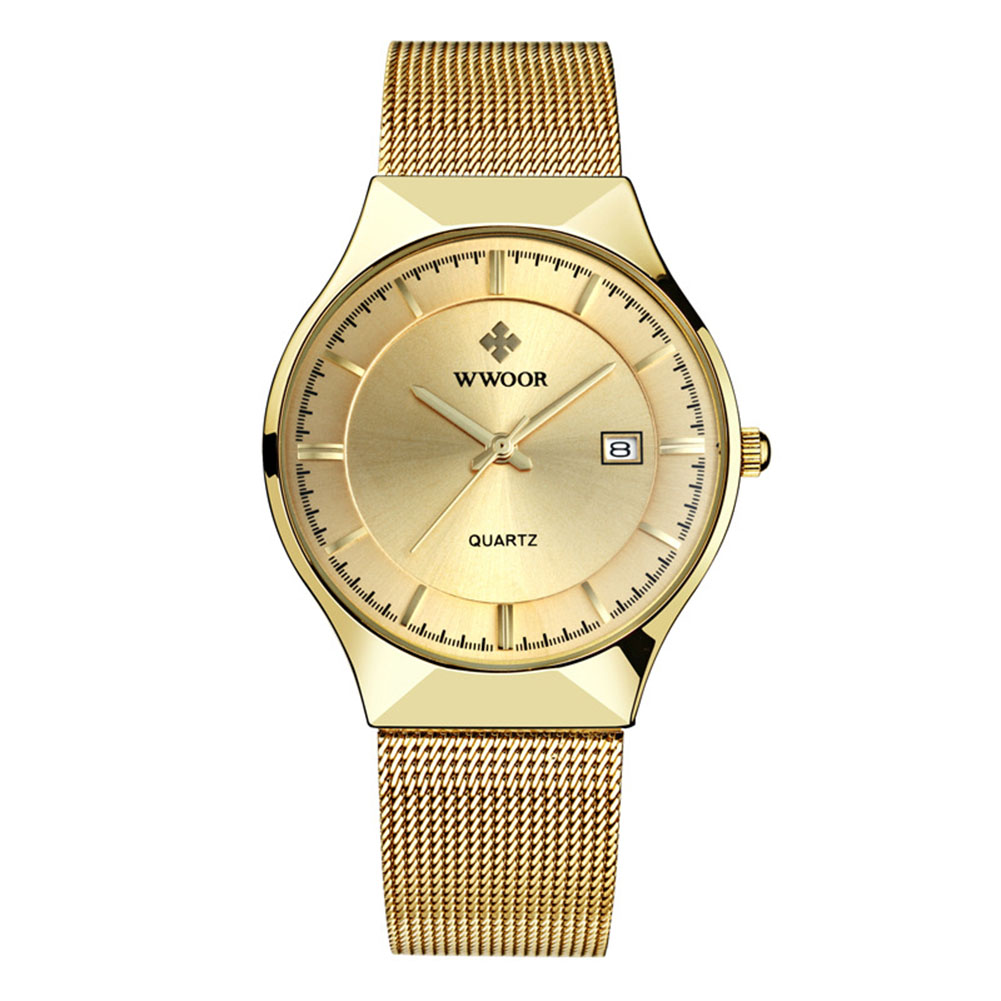Man Fashionable Stainless Steel Band Calendar Waterproof Quartz Watch Gold shell gold dial