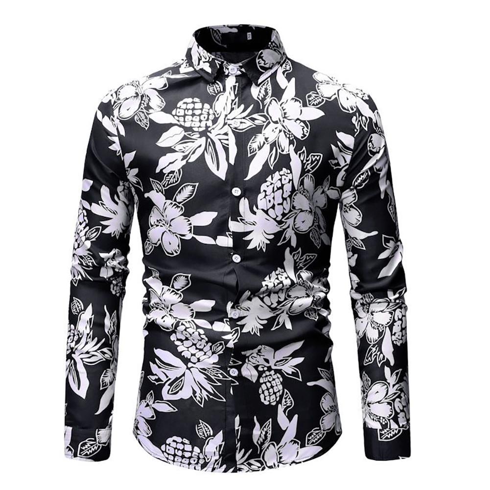 Men Fashion Casual Printing Stand Collar Long Sleeve T-shirt black_XL