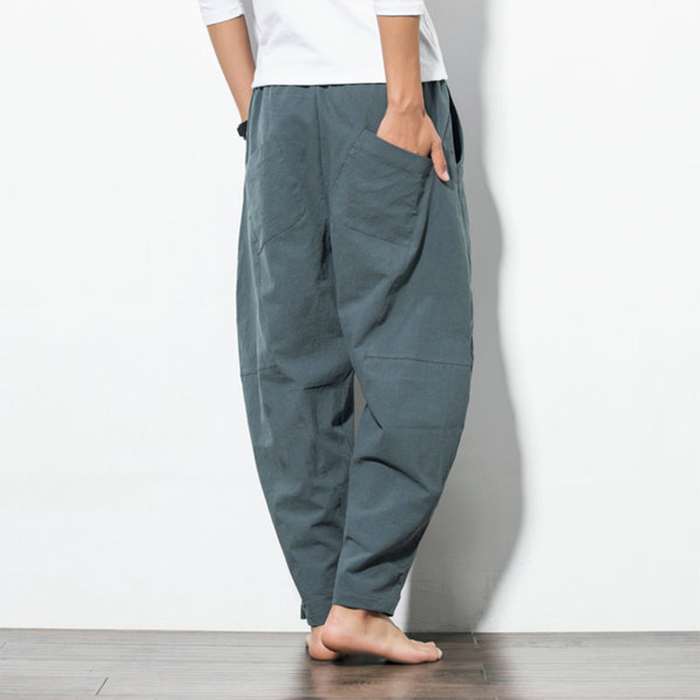 Men Casual Loose Harem Pants Drawstring Chinese Style Wide Leg Pants Gray green_L