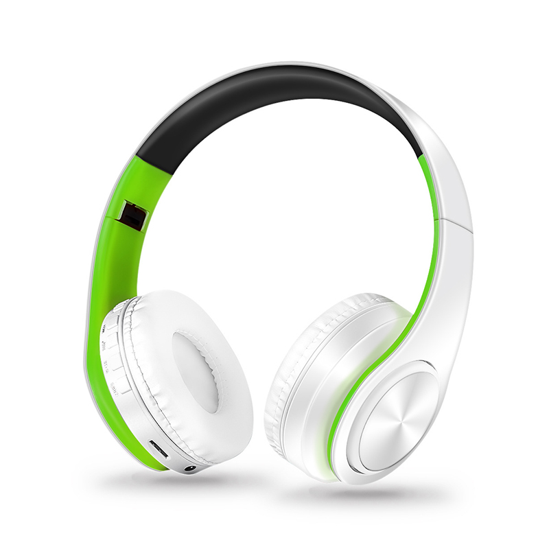 Wireless Headphones Bluetooth Headset Foldable Headphone Adjustable Earphones with Microphone for PC Mobile Phone Mp3 Green white